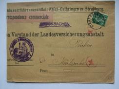 FRANCE 1919 Cover Srasbourg To Karlsruhe - Tied With Sower Stamp On Germany Landesversicherungsanstalt Cover - France