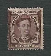 SPAGNA 1876 - Alfonso XII - 25 C. Castano-rojizo- Yt:ES 166 - Nuovi