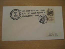 GUADALCANAL 1943 JOHN BASILONE MEDAL OF HONOR WW2 History Military RARITAN 1984 Cancel Cover USA - Guerre Mondiale (Seconde)