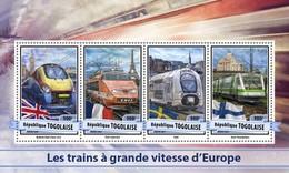 TOGO 2017 SHEET EUROPEAN SPEED TRAINS TRENES DE ALTA VELOCIDAD TRAINS GRANDE VITESSE Tg17112a - Togo (1960-...)