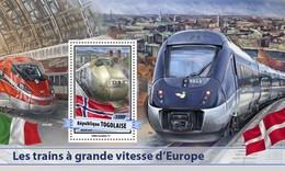 TOGO 2017 SHEET EUROPEAN SPEED TRAINS TRENES DE ALTA VELOCIDAD TRAINS GRANDE VITESSE Tg17112b - Togo (1960-...)