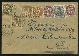 PARIS: Enveloppe Avec Bel Affranchissement 7 Timbres Oblt CàDate T 84 A3 PARIS 22 R. DE PROVENCE > PARIS - 1877-1920: Période Semi Moderne