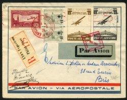 MEETING: Tres Belle Enveloppe PAR AVION AEROPOSTALE Repiquée Afrt 1F60 Oblt A4 Rge EXPOSITION PHILATELIQUE LYON + VIGNET - Postmark Collection (Covers)