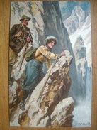 (alpinisme) Ernst PLATZ: Cordée Féminine Sur Une Arête, 1907, SUP, Cachet De Refuge. - Alpinisme