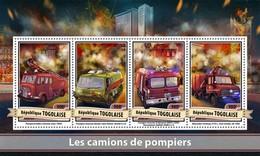 TOGO 2017 SHEET FIRE ENGINES CAMIONS DE POMPIERS FIRE TRUCKS FIREFIGHTERS CAMIONES DE BOMBEROS Tg17113a - Togo (1960-...)