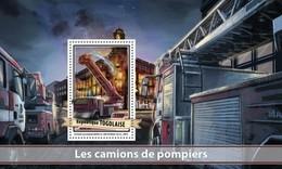 TOGO 2017 SHEET FIRE ENGINES CAMIONS DE POMPIERS FIRE TRUCKS FIREFIGHTERS CAMIONES DE BOMBEROS Tg17113b - Togo (1960-...)