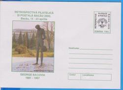 BACAU. GEORGE BACOVIA WRITER STATUE  ROMANIA POSTAL STATIONERY