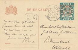 Briefkaart Met Opdruk 25 Apr 1921 Tiel (stempeltype Kortebalk) - Poststempels/ Marcofilie