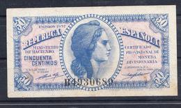 ESPAÑA 1937. 50 CENTIMOS.REPUBLICA. EBC. SERIE B . B146 - [ 2] 1931-1936 : Republic
