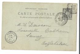 (P67) - ENTIER CARTE Y&T N°89-CP4  CALAIS GARE MARITIME => ANGLETERRE 1897 - 1876-1898 Sage (Tipo II)