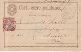 Suiza  Año 1874 Entero Postal Circulado A Niederbipps  Matasellos Zurich, Durmund - Stamped Stationery