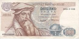 BILLETE DE BELGICA DE 1000 FRANCOS DEL 30-12-1963 DE MERCATOR  (BANKNOTE) - [ 2] 1831-... : Belgian Kingdom