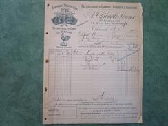 Rectification D'Alcools & Fabrique D'Absinthe A.THIBAULT-LEROUX 34, Quai Des Augustins à ORLEANS - Factures