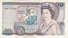 BILLETE DE REINO UNIDO DE 20 POUNDS DEL AÑO 1970-80 CALIDAD MBC (VF) (BANK NOTE) - 1952-… : Elizabeth II