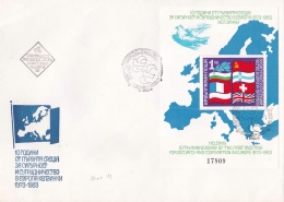Bulgaria 1983 Flags FDC Security Cooperation Europe Souvenir Sheet (LAR4-2)