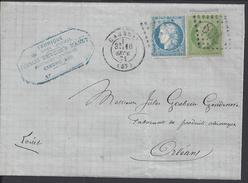FR - 1871 - Cérès Et Empire Dentelés N° 20 Et 37 - Affranchissement à 25 Cts Sur Pli De Cambai Pour Orléans - - Marcophilie (Lettres)
