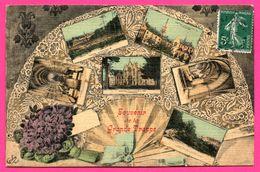Souvenir De La Grande Trappe - Multivues - Éventail - Photo Peinture A. BREGER FRÈRES - CAROLUS - 1910 - Carte Toilée - France
