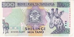 BILLETE DE TANZANIA DE 500 SHILINGI DEL AÑO 1997 CALIDAD EBC (XF) (BANKNOTE) JIRAFA-GIRAFFE-CEBRA-ZEBRA - Tanzanie