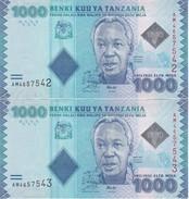 PAREJA CORRELATIVA DE TANZANIA DE 1000 SHILLINGS DEL AÑO 2010  (BANKNOTE) NUEVO SIN CIRCULAR - Tanzanie