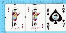 """Cartes à Jouer De Casino  Mohawk - 2 Joker + As De Pique - Cartes Cancellées """" Perforé"""" Arriere Publicitaire - 2 Scans - Cartes à Jouer Classiques"""