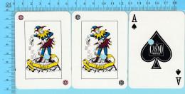 """Cartes à Jouer  Casino Montreal - 2 Joker + As De Pique - Cartes Cancellées """"perforation"""" Arriere Publicitaire - 1scans - Cartes à Jouer Classiques"""