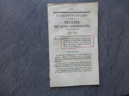 GARD 1824, Protection De La Place De L'Amphithéâtre, Maison-Carrée, Etc ; Ref 763 VP 29 - Documents Historiques