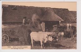 CPA - NOS CAMPAGNES - Le Battage Du Blé - Boeufs - Charrette - Machine Agricole - Scène Champêtre - Vie Aux Champs - Cultures