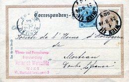 AUTRICHE  WIEN  VIENNE   ENTIER POSTAL AVEC COMPLEMENT D'AFFRANCHISSEMENT VOYAGE EN 1896 ETS WEISSLITZ - 1850-1918 Imperium