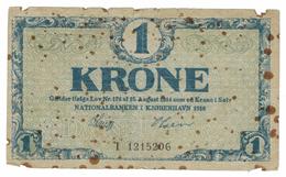 Denmark 1 Kr. 1918, Used, See Scan, Free Ship. To USA. - Danemark