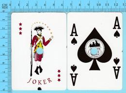 """Cartes à Jouer  Casino Montreal - 1 Joker + As De Pique, Cancellé """" Perforation"""" -  Arriere Publicité  - 2scans - Cartes à Jouer Classiques"""