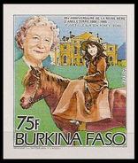 BURKINA FASO 1985 Queen Mother Horse 75F IMPERF. [non Dentelé] - Burkina Faso (1984-...)