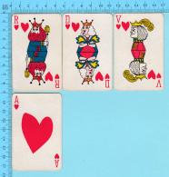 Cartes à Jouer   - 4 Faces De Coeur Artistique -  Arriere Fleur De Lys Par Normand Hudon  - 2scans - Cartes à Jouer Classiques