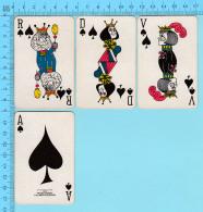 Cartes à Jouer   - 4 Faces De Pique Artistique -  Arriere Fleur De Lys Par Normand Hudon  - 2scans - Cartes à Jouer Classiques