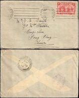 1912 BRITISH RHODESIA SINGLE TO HONG KONG WITH BACKSTAMPS - Francobolli