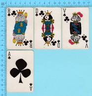 Cartes à Jouer   - 4 Faces De Trefle  Artistique -  Arriere Fleur De Lys Par Normand Hudon  - 2scans - Cartes à Jouer Classiques