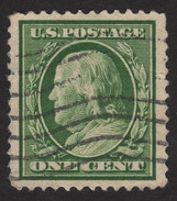 1908 US, 1c Stamp, Used, Benjamin Franklin, Sc 331 XF - United States