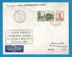 1ère Liaison Aérienne - PARIS-CASABLANCA-DAKAR Par Avion à Réaction - 1953 - Maroc (1891-1956)