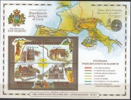 San Marino 2000 Michel Bloc Feuillet 27 Neuf ** Cote (2006) 4.00 Euro Voyages Des Pèlerins - Hojas Bloque