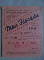 Ancien Horaire Hiver 1958-59 Tous Les Services De Car - Région St Raphaël - Europe