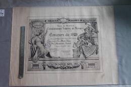 Diplome  Du Conservatoire De Musique  De Rennes 1921 - Diploma's En Schoolrapporten