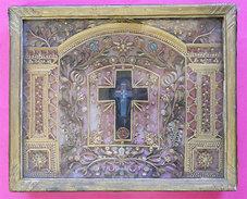 1787 Magnifique Reliquaire à Suspendre Richement Décoré 35.5x29x7.5cms Vitrine Objet De Piété