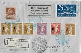 1924 FLUGPOST BASEL-BERN (Basel Mustermesse) 6-fache Super Mischfrankatur   ►RRR◄ - Luchtpostzegels