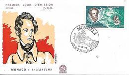 MONACO   Centenaire De La Mort D'Alphonse Marie Louis De Prat De Lamartine 1790/1869 15/10/70