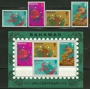 """Bahamas    """"UPU""""    Set & Souv. Sheet     SC# 358-61a  MNH** - Bahamas (1973-...)"""