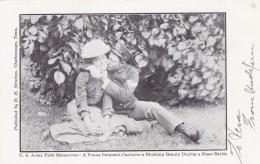 US Army Field Maneuvers Humor Romance Soldier Kisses Woman, C1900s Vintage Postcard - Humour