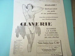 ANCIENNE PUBLICITE CORSET-GAINE- CLAVERIE 1934 - Vintage Clothes & Linen