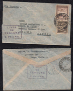 Chile 1945 Censor AIRMAIL Cover To SANTOS Brazil - Chile