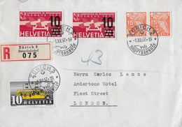 1937 LUFTPOST ZÜRICH-LONDON → R-Brief Mit Schöner MIschfrankatur  ►SBK 2xF21,2x197,276◄ - Luftpost