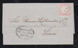 Peru 1864 Cover TRUXILLO To LIMA 1D Red CONDUCCION DEL CARTERO GRATIS PM - Peru