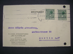 Postcard 1928 HAARLEM - Company STOOMZEEPFABRIEK HET KLAVERBLAD - Berlin Germany - 2x 5 Cent - Lettres & Documents